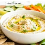 Creamy eggplant dip in a bowl.