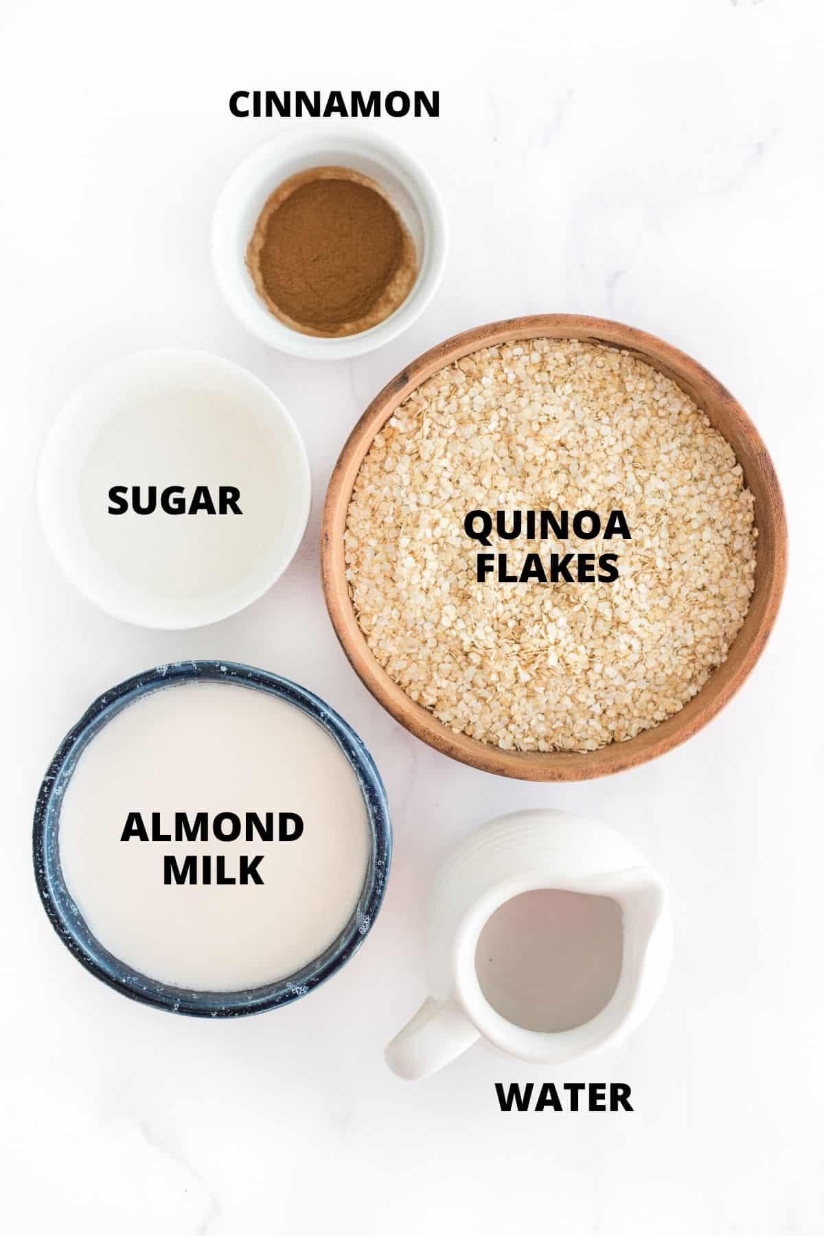 Ingredients required for making quinoa porridge.