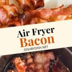 Bacon in the air fryer basket and on a plate.