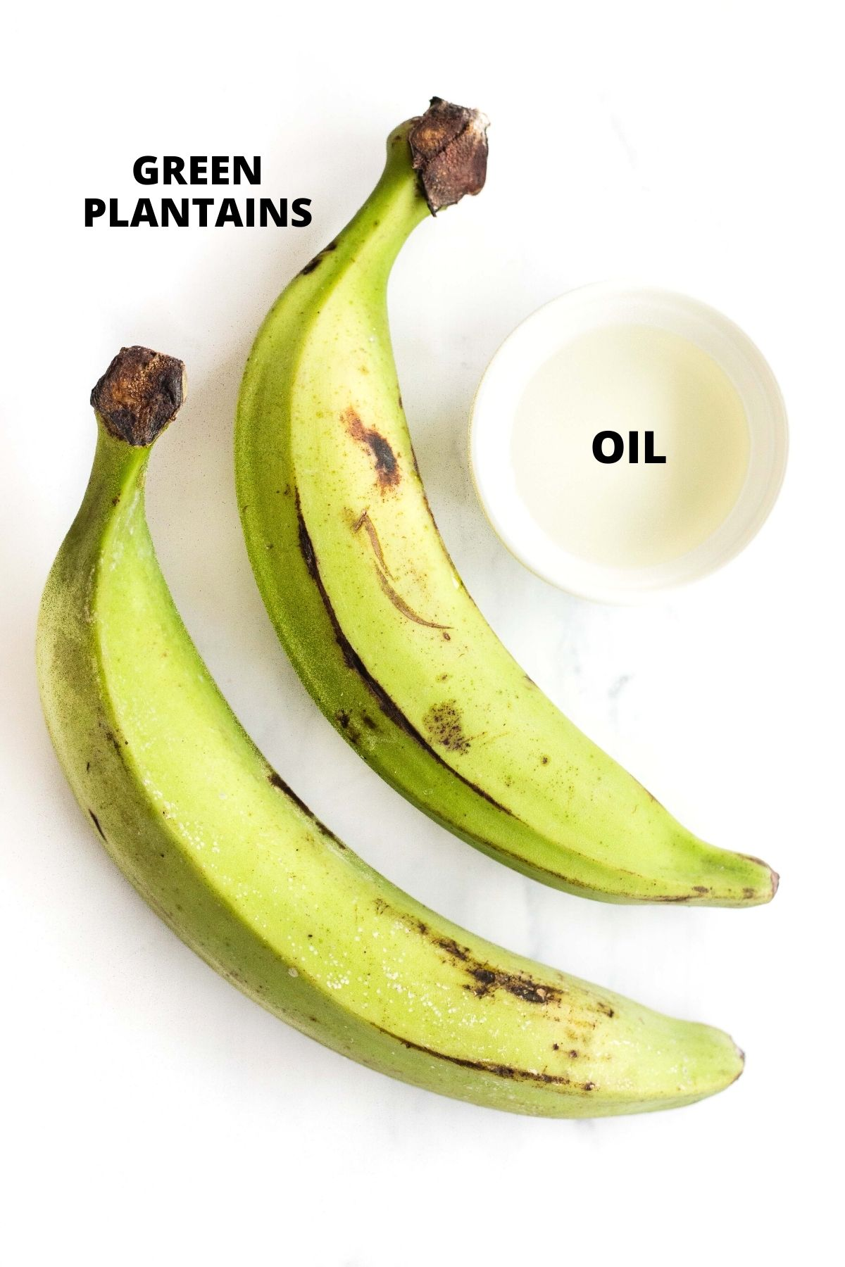 Labeled ingredients required for making air fryer plantains.