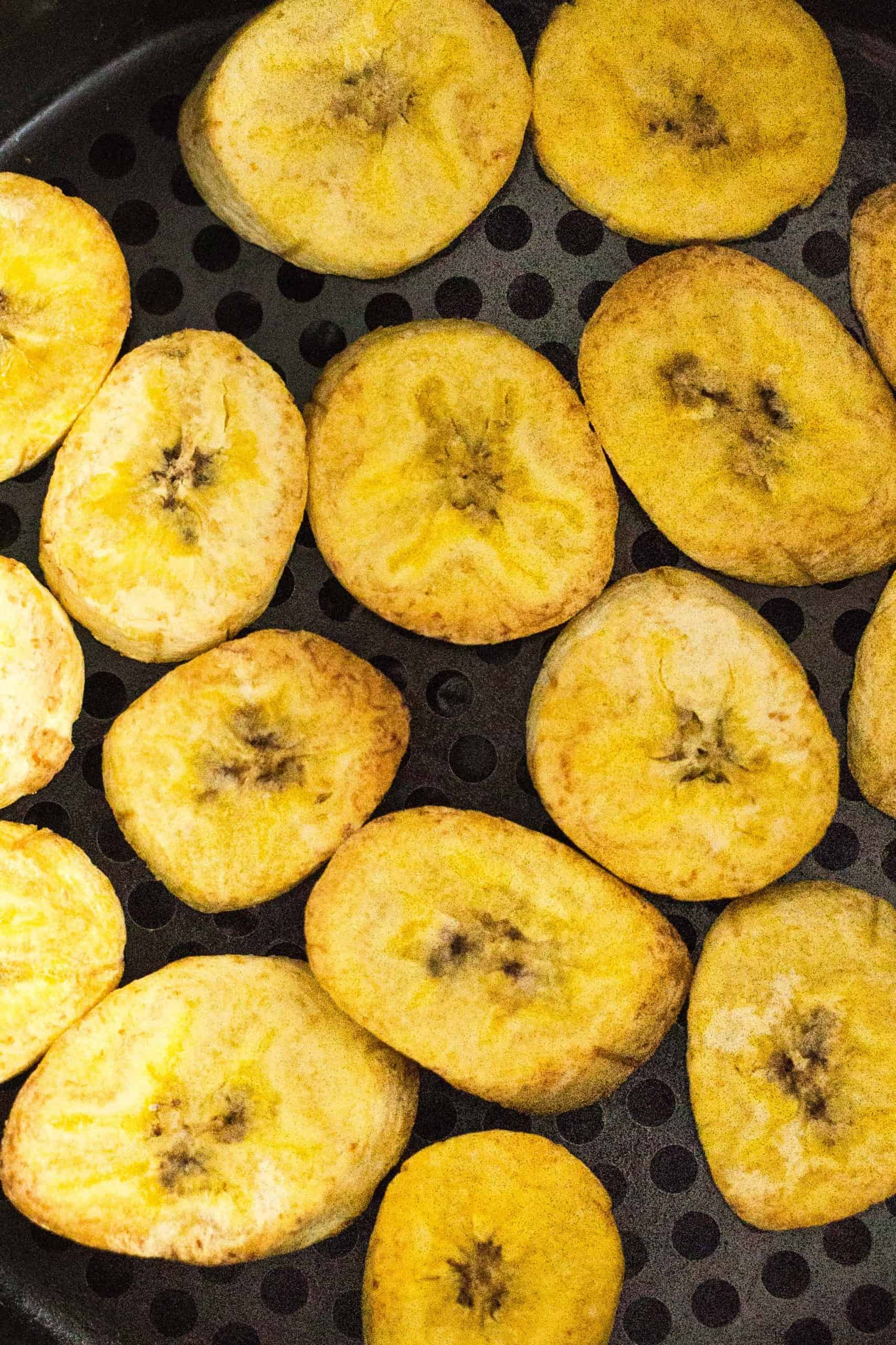 Up close shot of air fryer plantain chips.