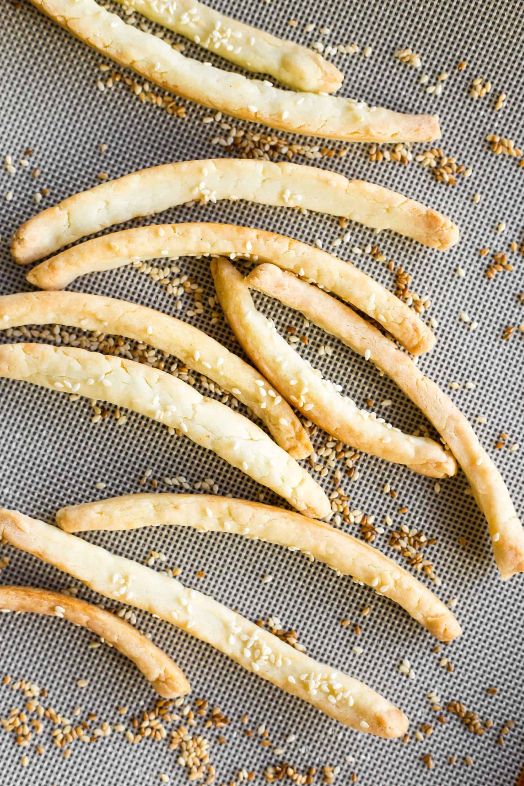 Baked breadsticks on a silpat.