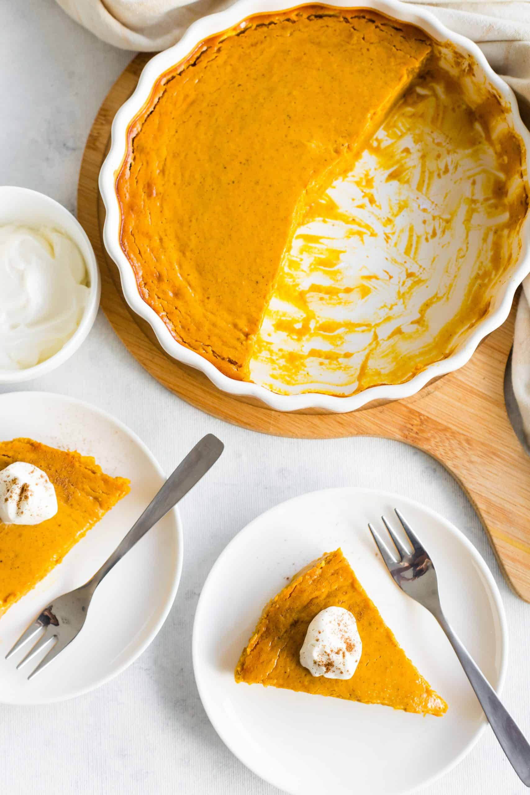 Top-down view of plates of pumpkin pie on a table top.