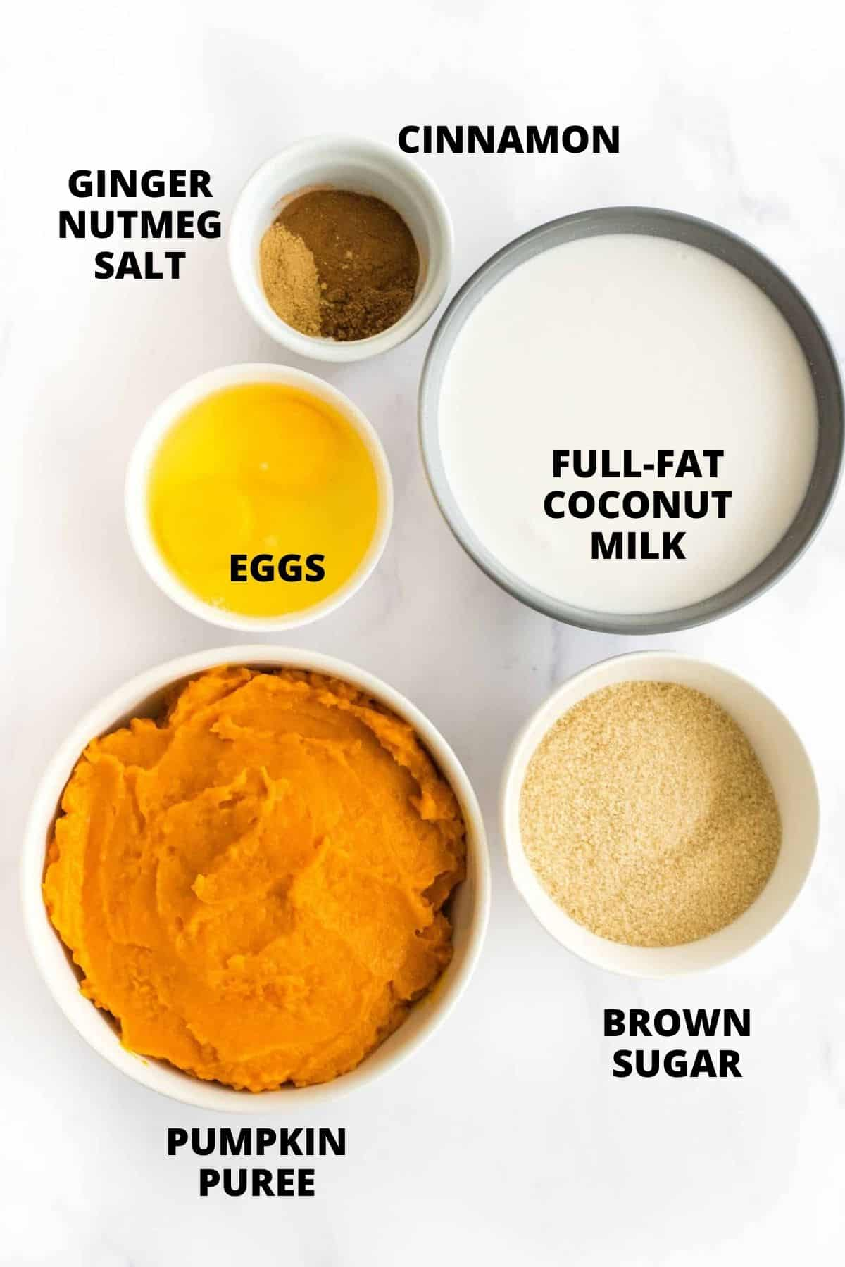 Labeled ingredients for crustless pumpkin pie.