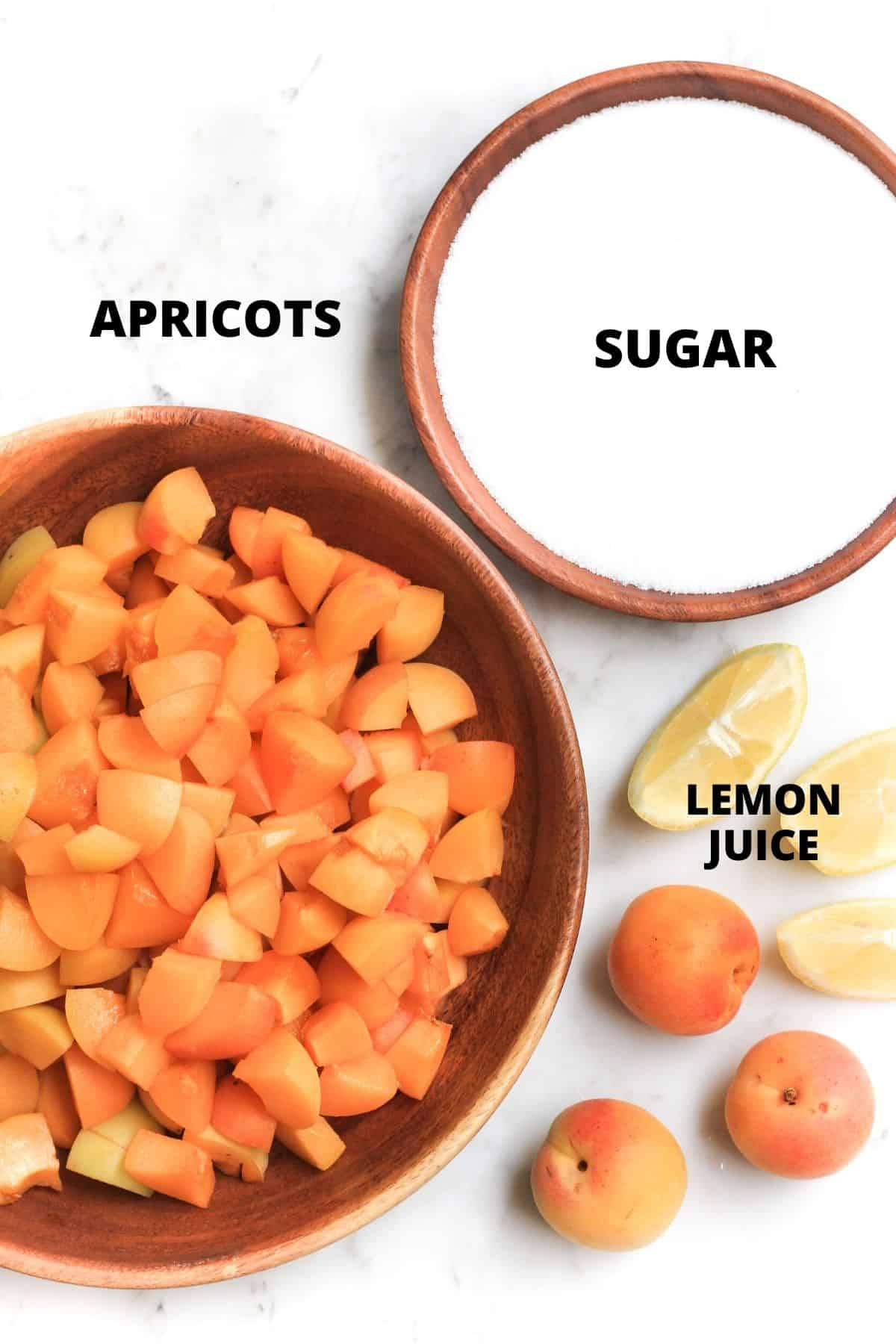Labeled ingredients for making an apricot jam recipe.