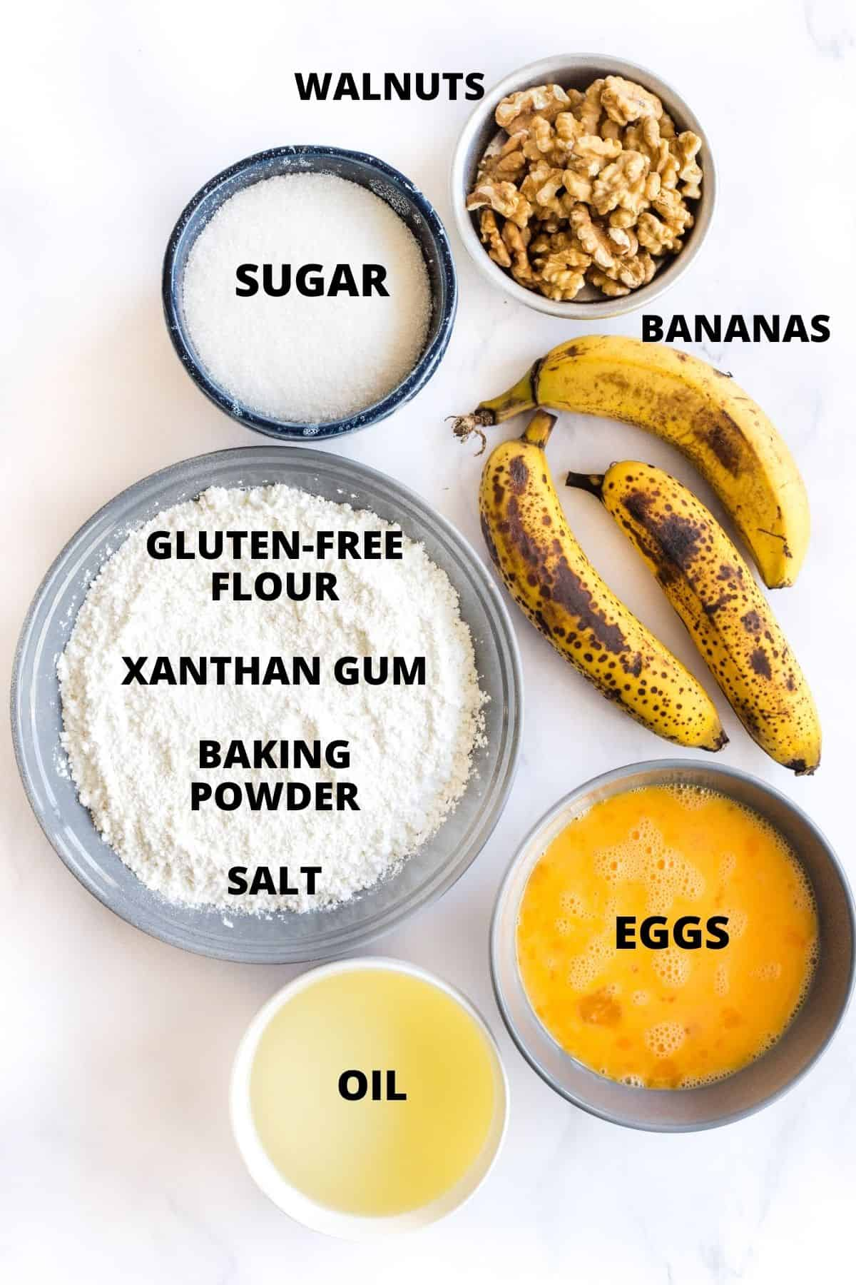 Ingredients required to make easy banana nut muffins.