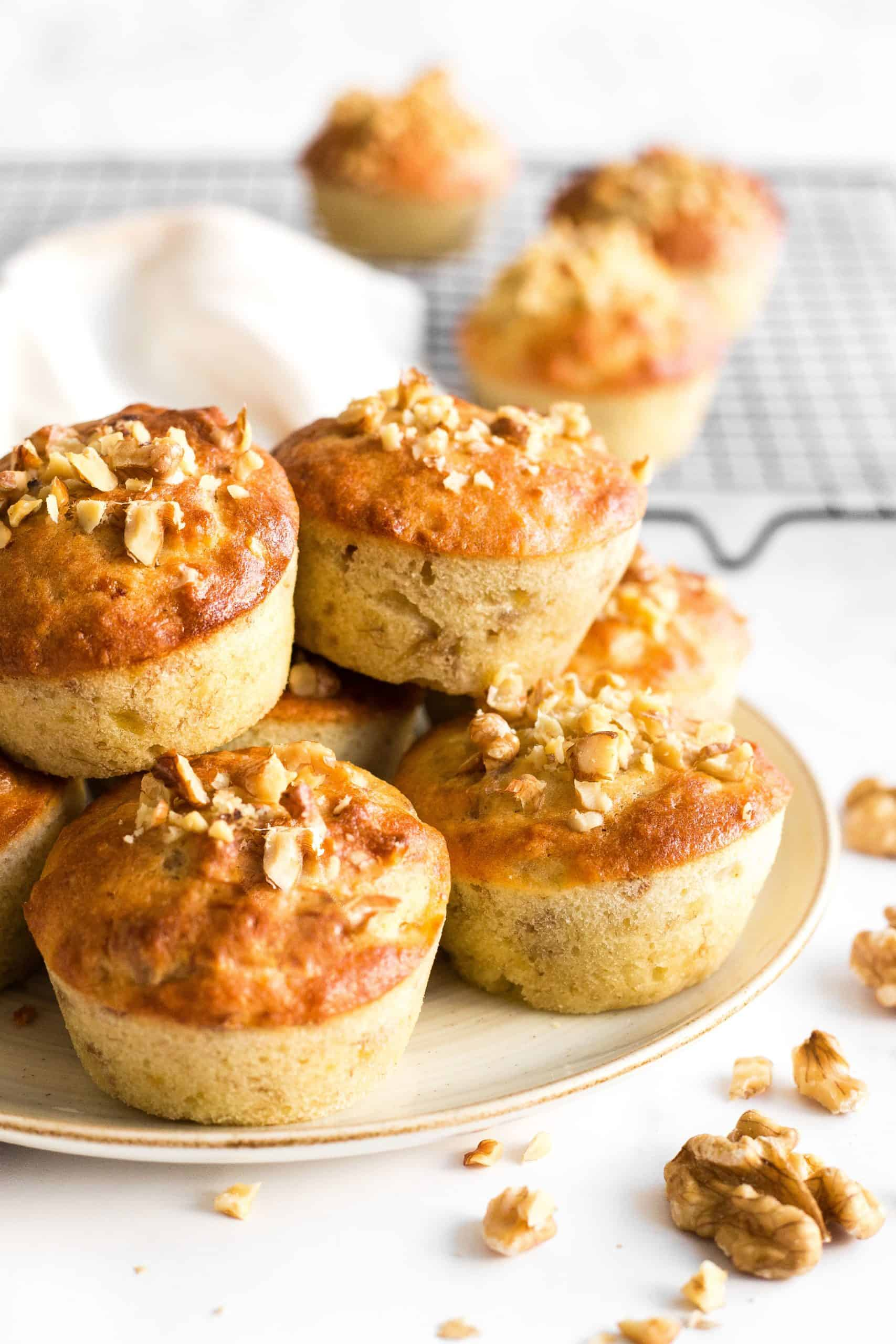 Close up of a plate of banana nut muffins.