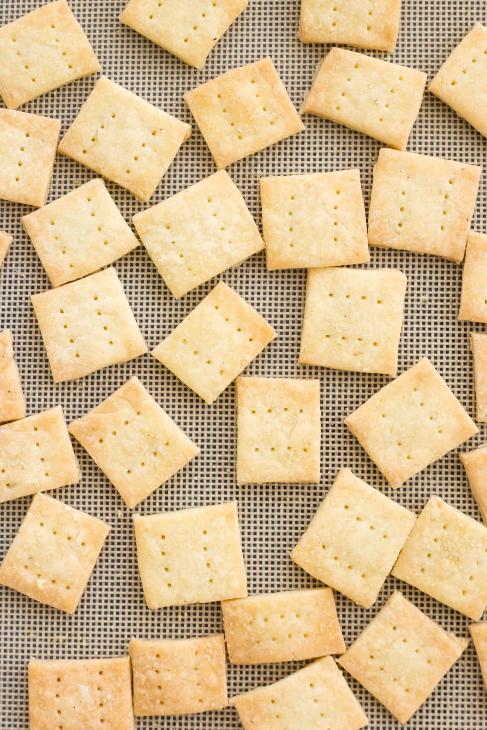 Crackers on a silpat.