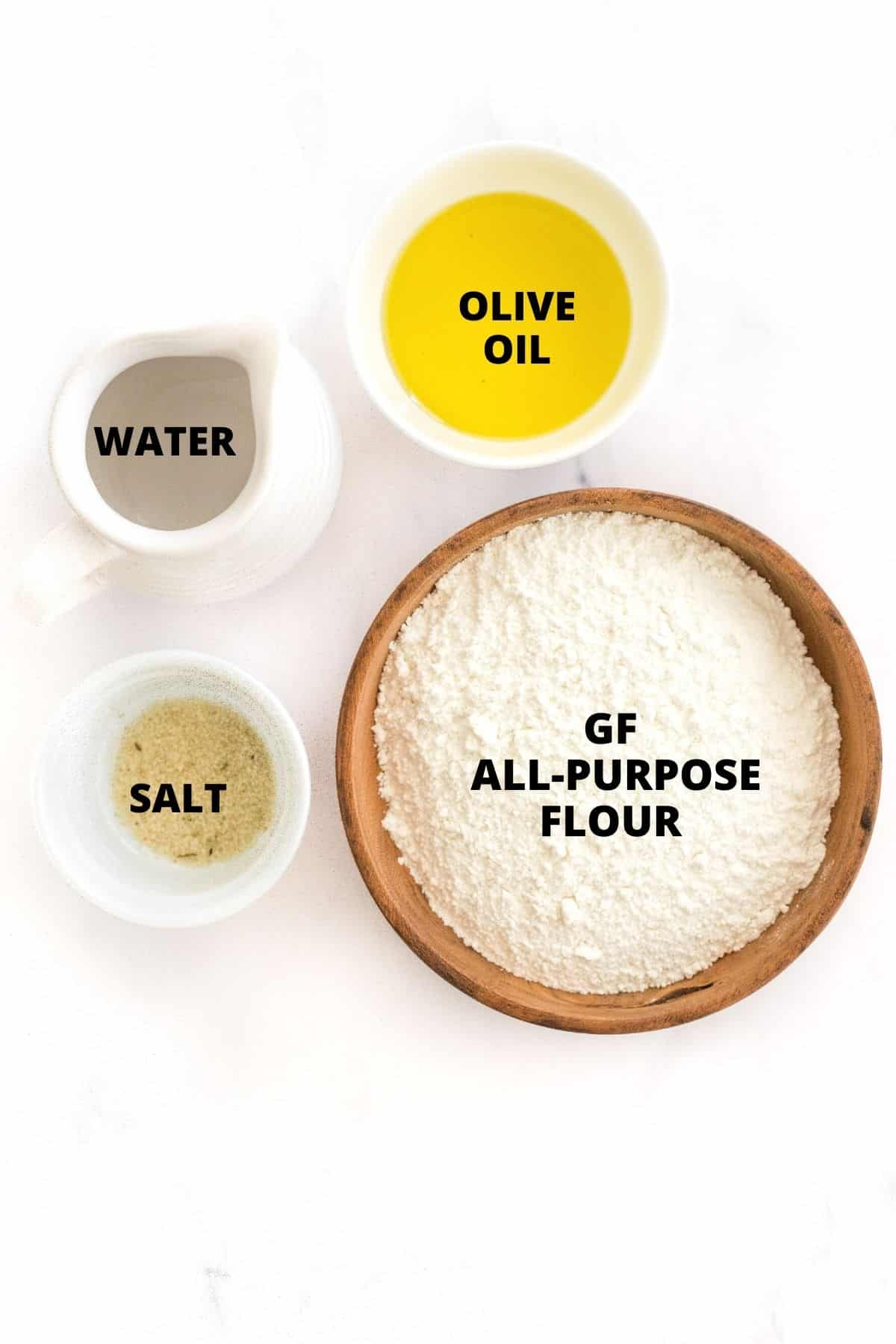 Labeled ingredients for gluten-free crackers on a white background.