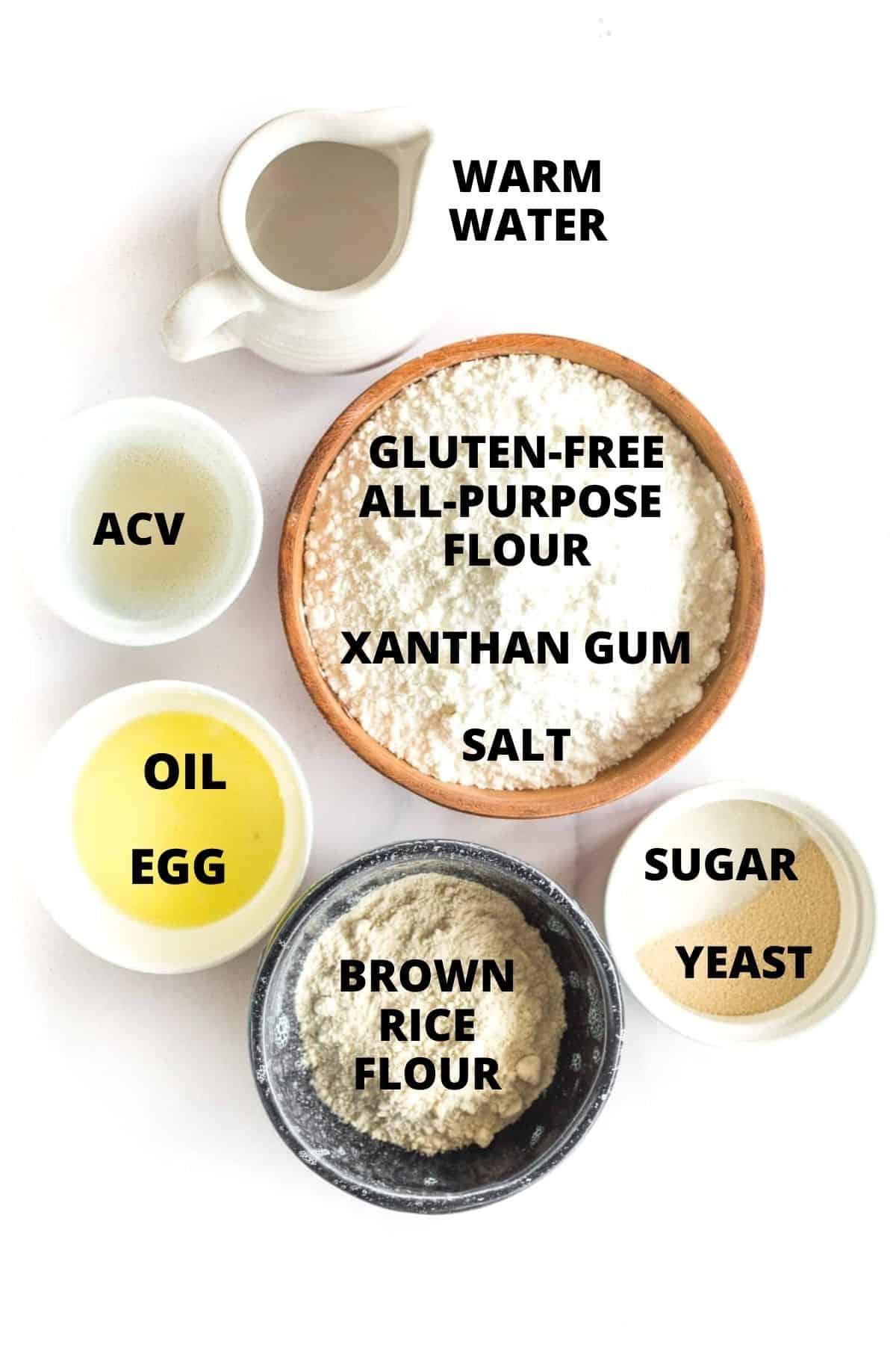 Ingredients for making easy gluten-free pizza dough recipe.