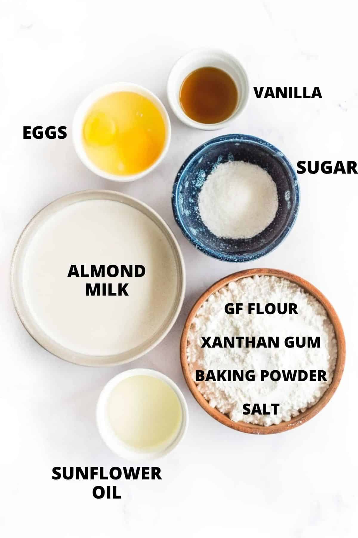 Ingredients required for making gluten-free waffles.