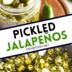 Pinterest image for easy pickled jalapeños