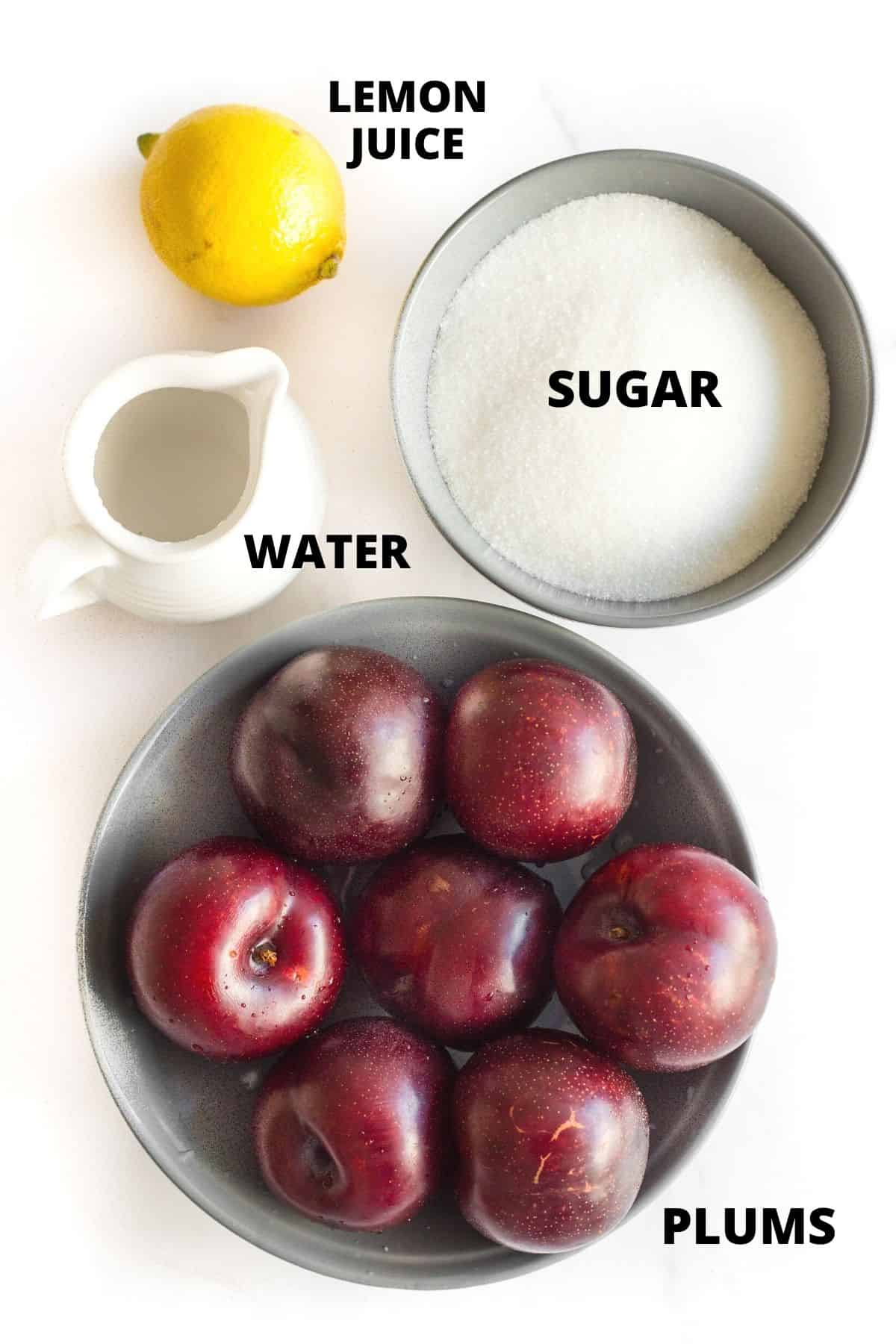 Labeled ingredients required for making easy plum jam recipe.