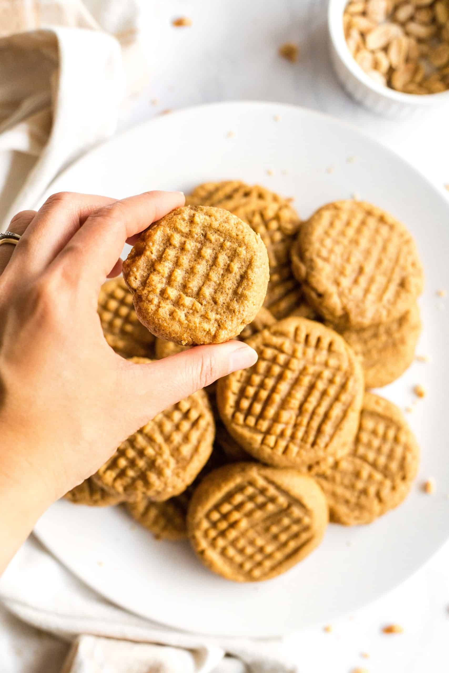 Hand holding up a flourless peanut butter cookie.