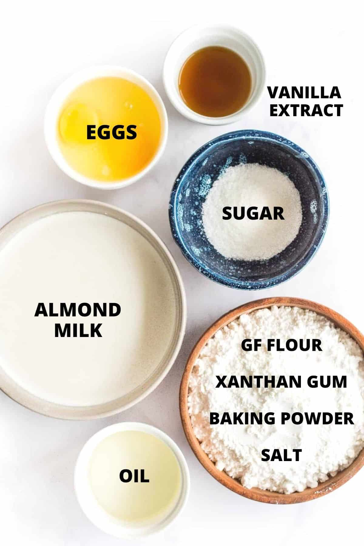 Labeled ingredients for making a gluten-free pancakes recipe.