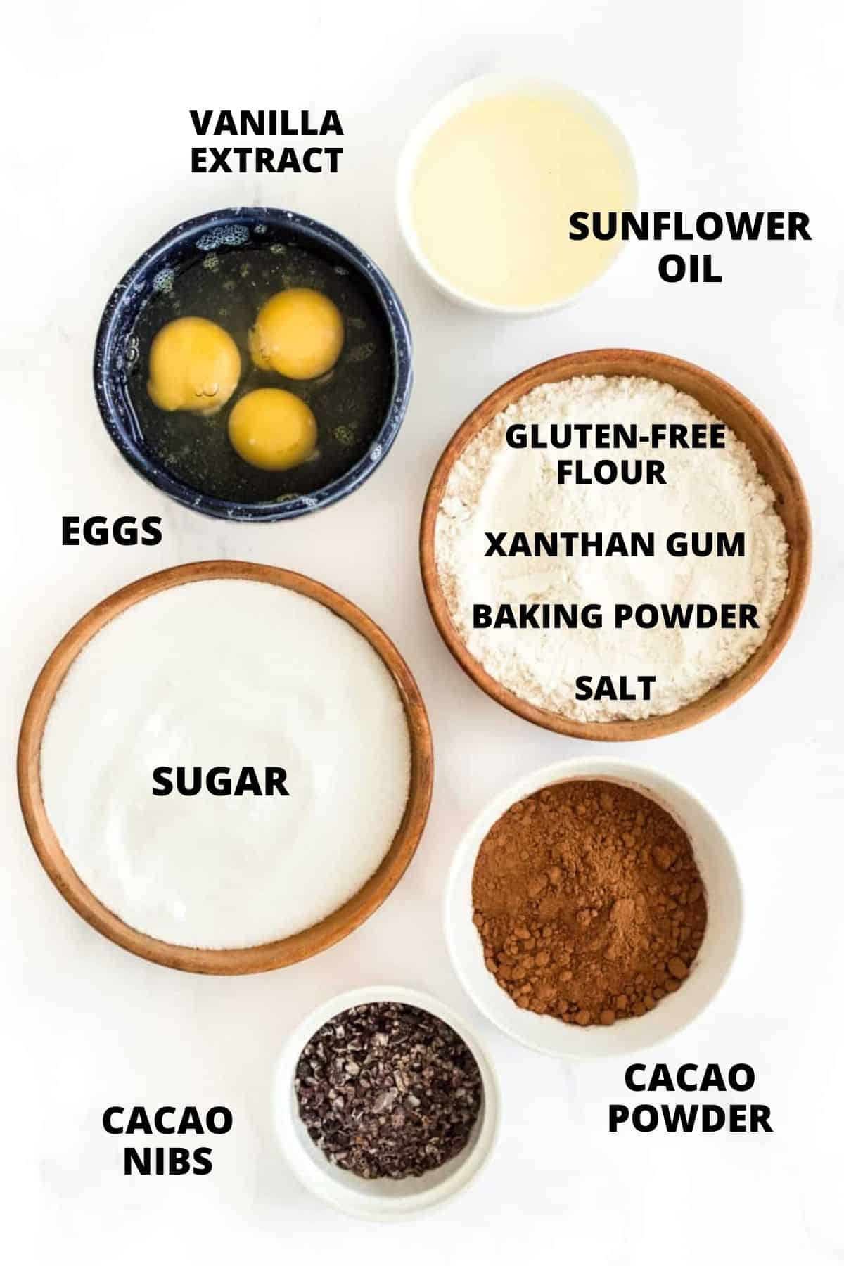 Ingredients for making gluten-free brownies recipe.