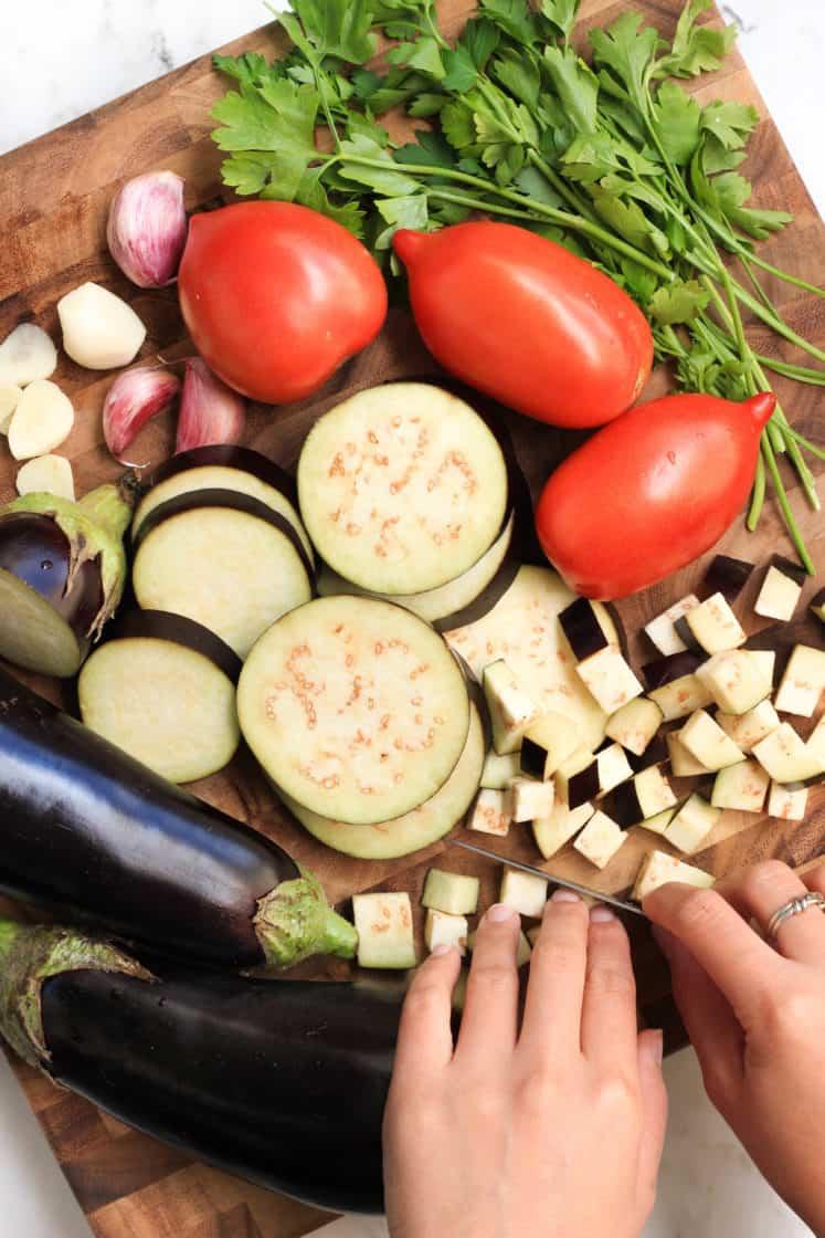 Garlic Eggplant Penne Pasta (Gluten-free, Vegan)