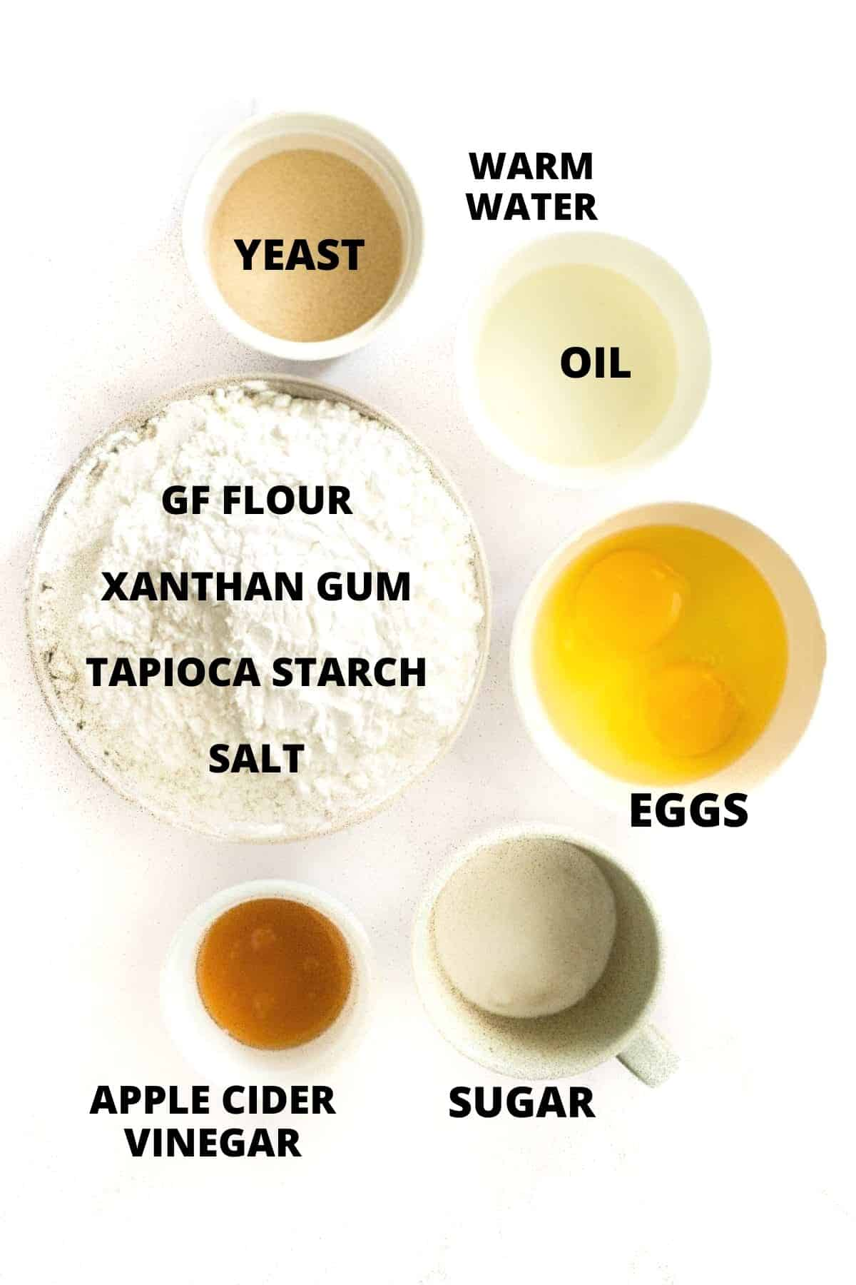 Ingredients required for making the gluten-free artisan bread recipe.