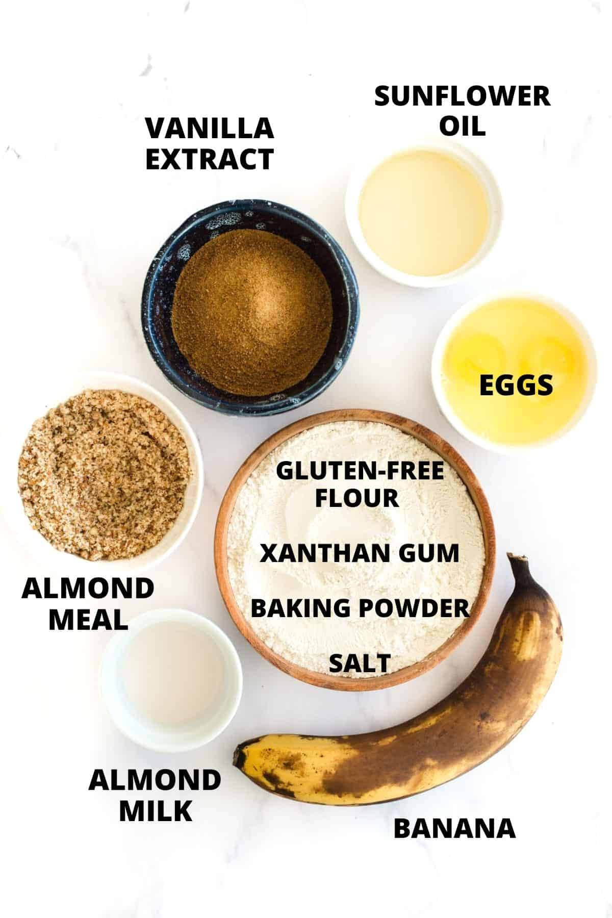 Ingredients for a gluten-free banana bread recipe.