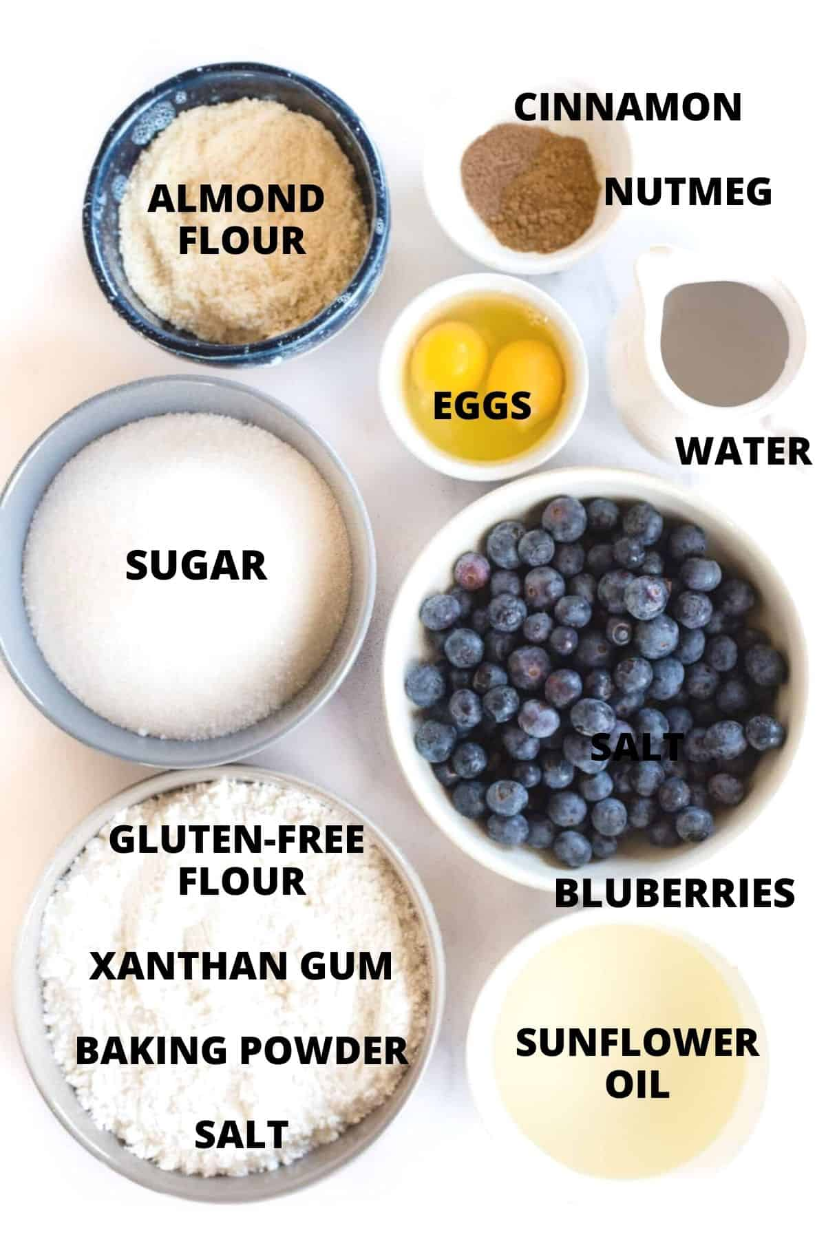 Ingredients required for making the best blueberry muffins.