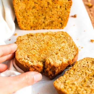 Gluten-free Carrot Cake Bread on a wooden board