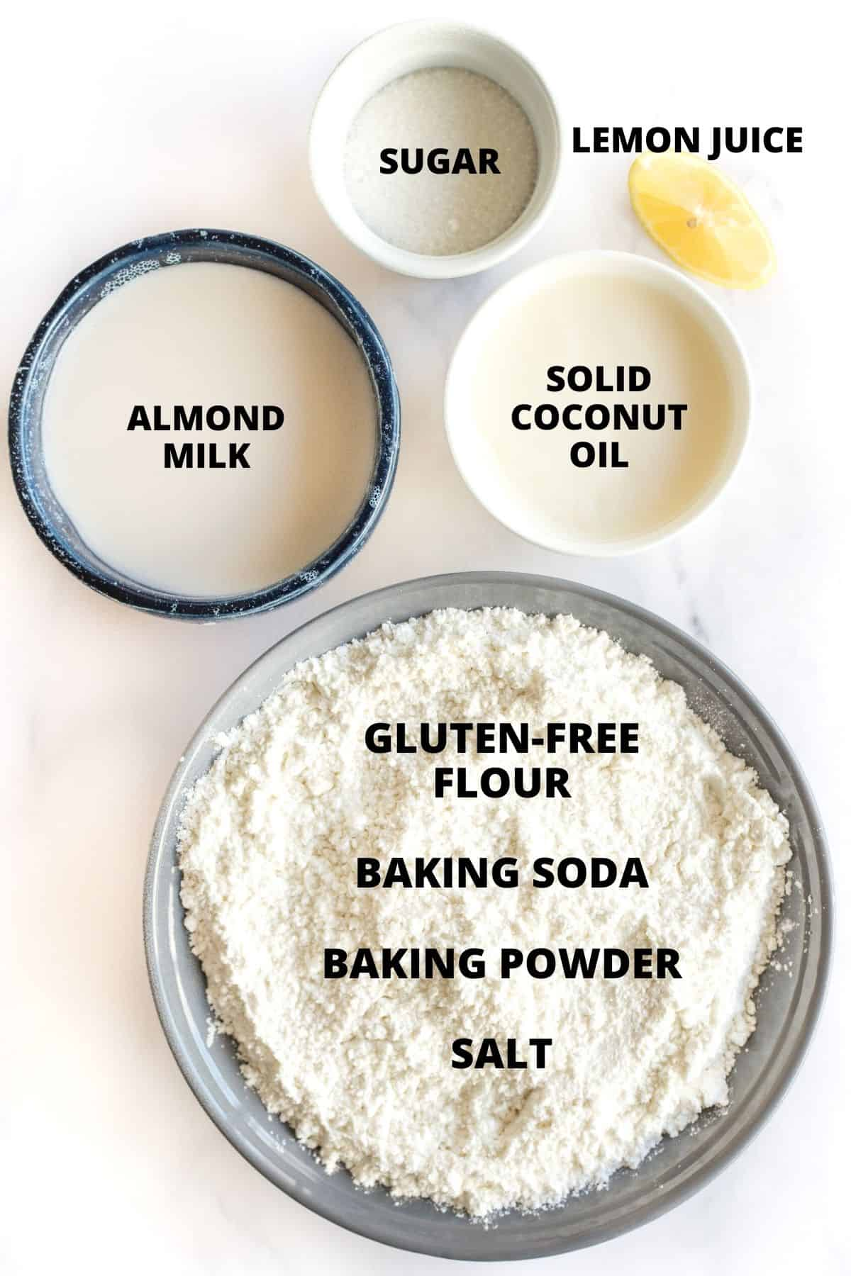 Ingredients laid out for making gluten-free Irish soda bread.