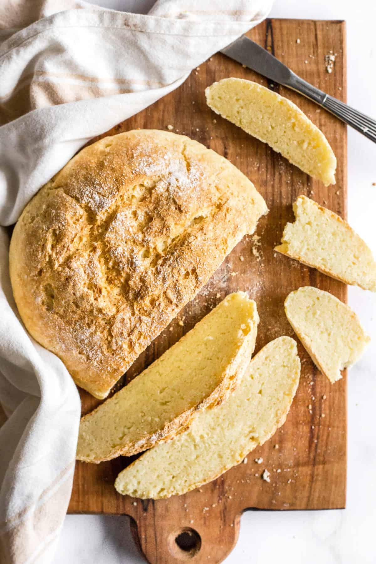 Gluten-Free No Knead Bread on Wooden Board