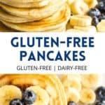 Pinterest image for fluffy gluten-free pancakes