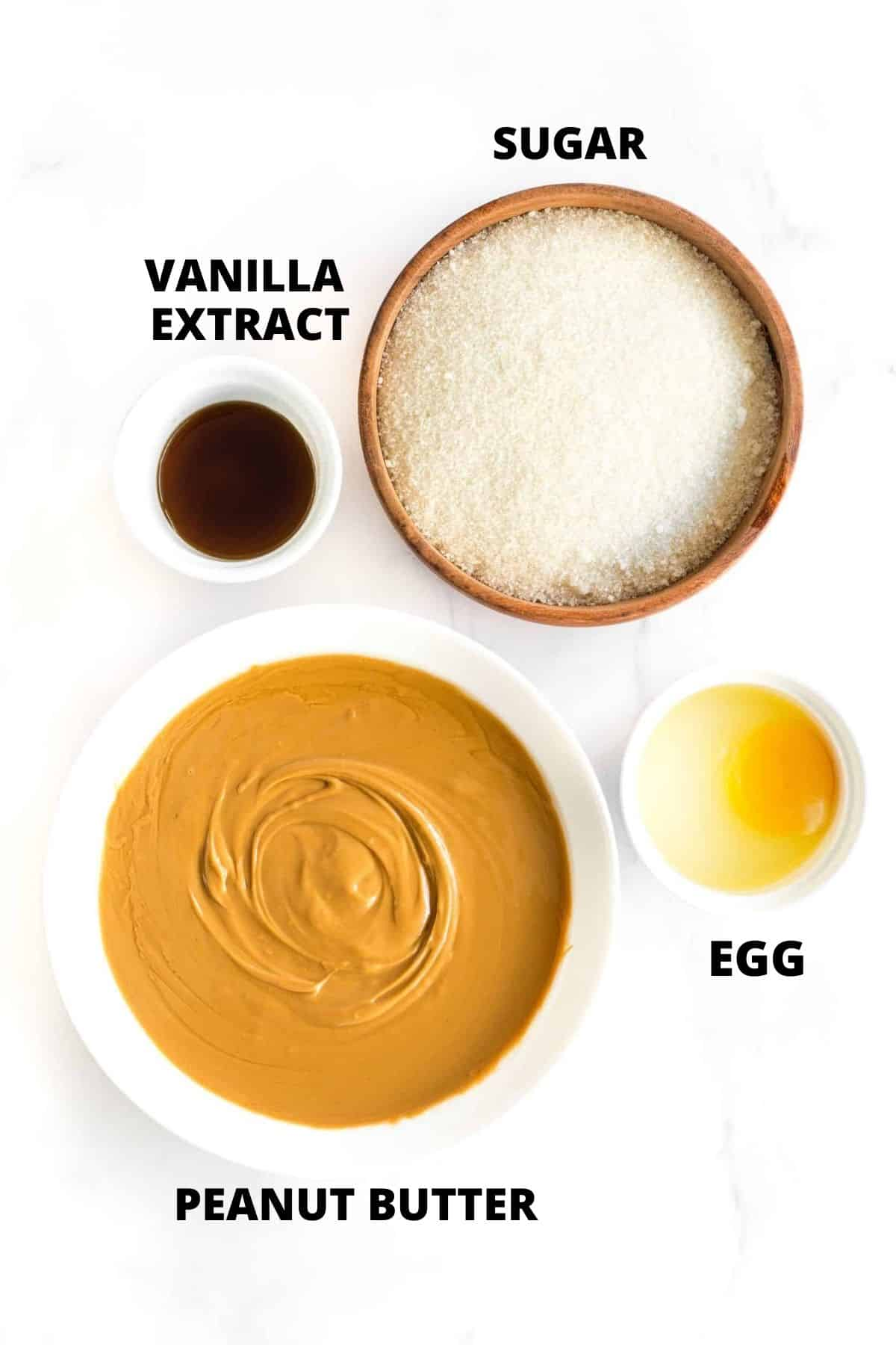 Ingredients required for gluten-free peanut butter cookies.