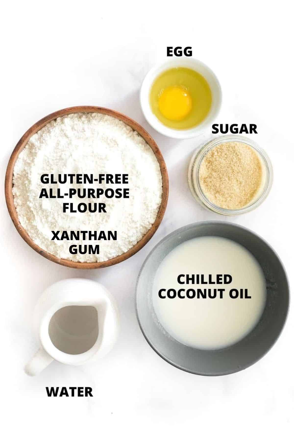 Ingredients required for making gluten-free pie crust recipe.