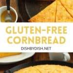 Pinterest image for gluten-free skillet cornbread.