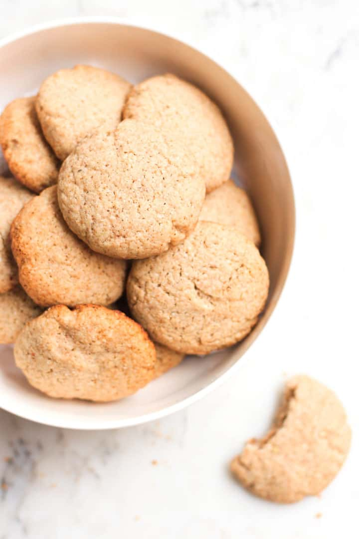 A bowl full of gluten-free buckwheat cookies.