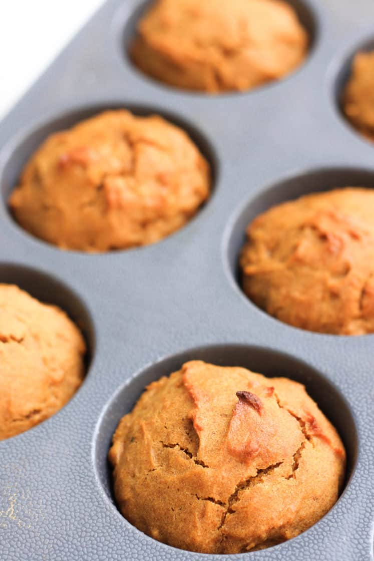 Close up shot of freshly baked muffins in the muffin mold.
