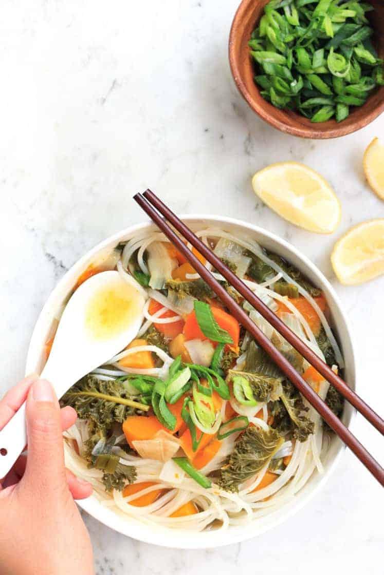 Healing Vegetable Noodle Soup Gluten Free Vegan