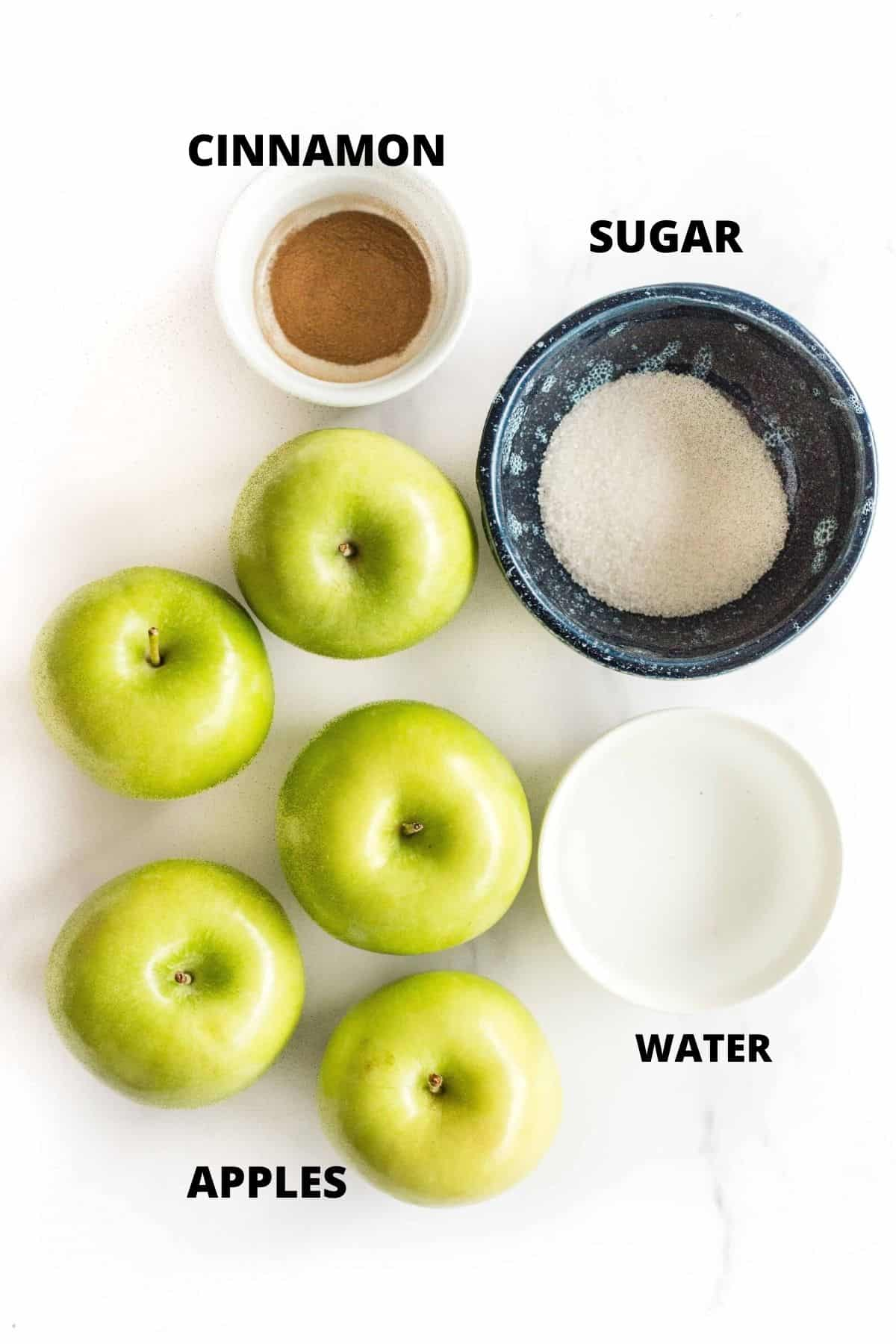 Ingredients required to make homemade applesauce recipe.