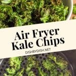 Pinterest collage for air fryer kale chips