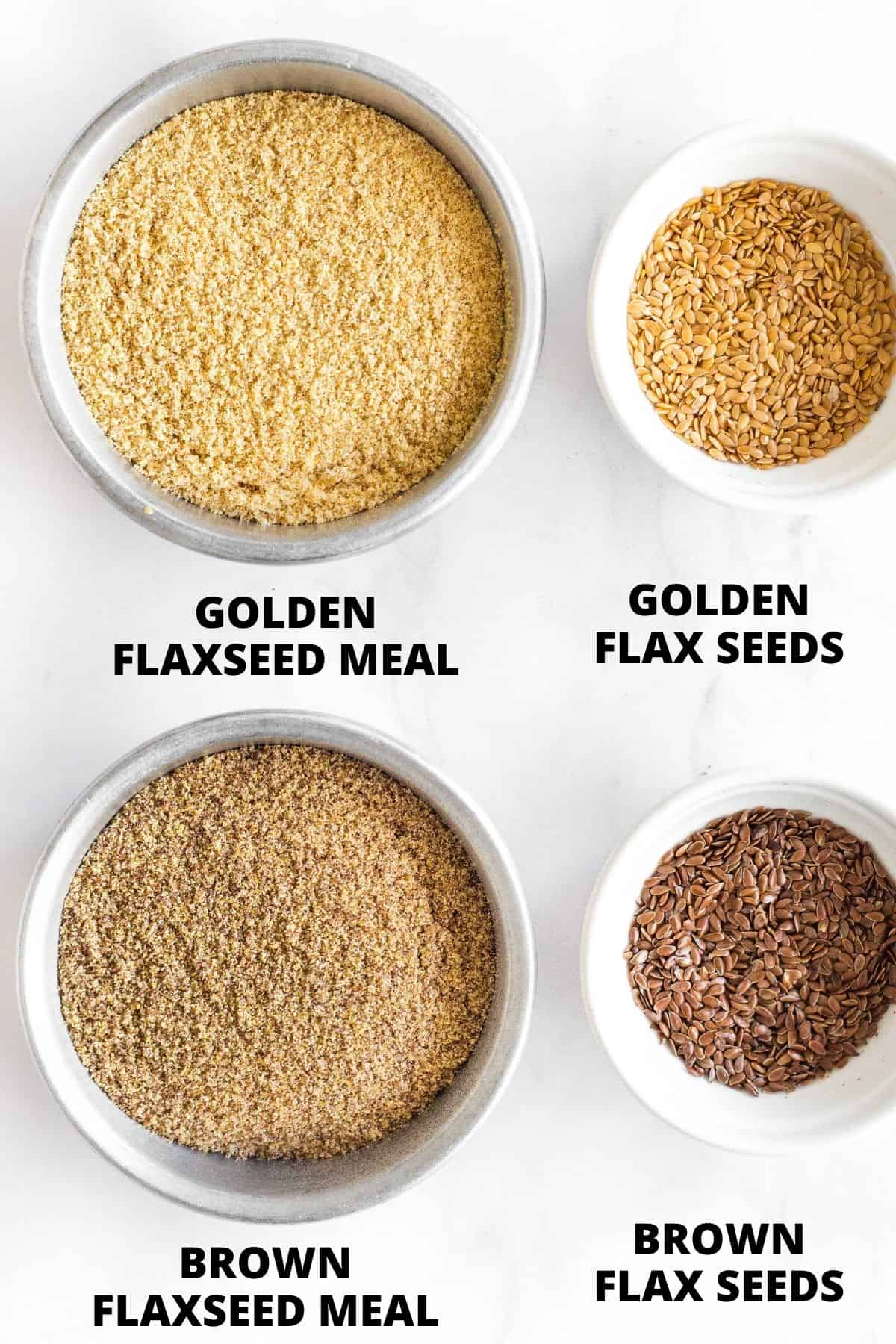 Flaxseed meal and whole flax seeds on a white marble board.