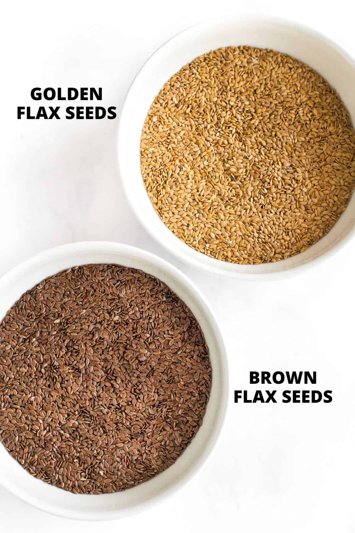 Golden flax seeds and brown flax seeds in a white bowls.