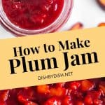 Collage of plum jam in a jar and in a skillet.