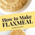 A collage of flaxseed meal.