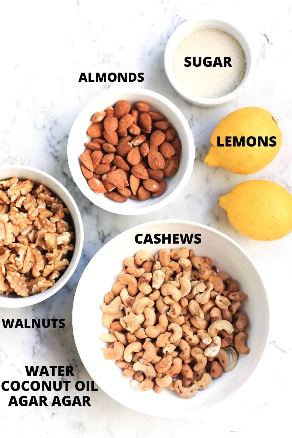 Ingredients required for making no-bake lemon cheesecake.
