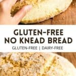 Pinterest image for no knead gluten-free bread