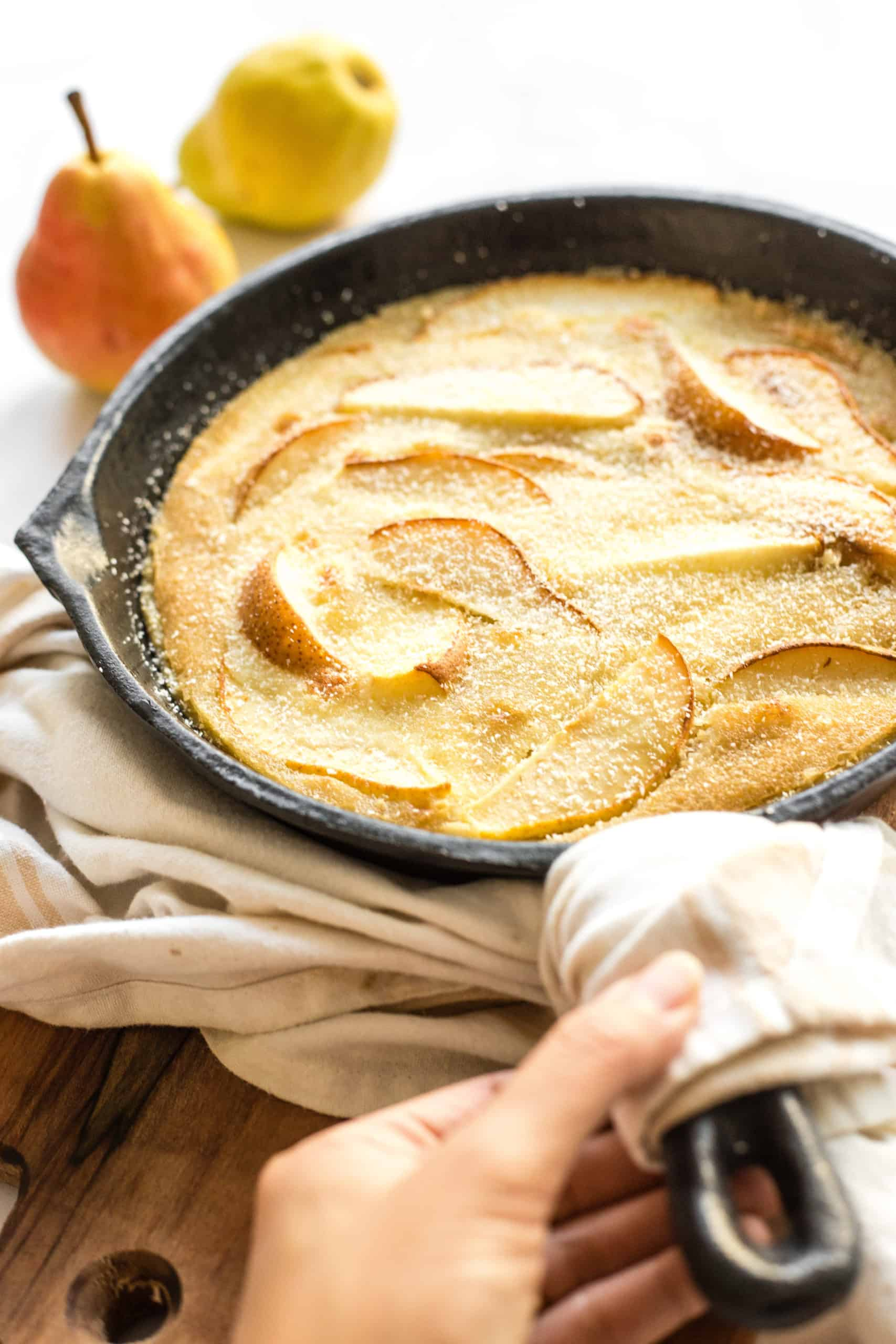 Pear Custard Pie in Cast Iron Skillet