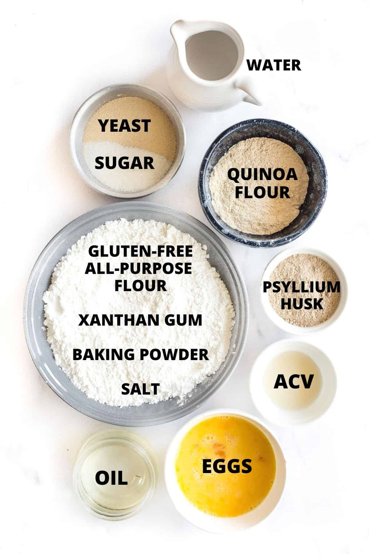 Ingredients for making yeast quinoa bread.