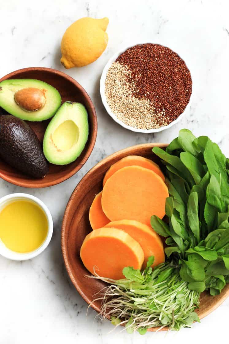 Warm Quinoa Salad with Butternut Squash, Avocado and Arugula (Gluten-free, Vegan)