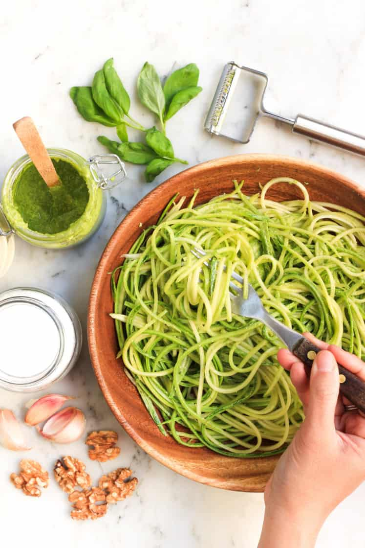 Zucchini Noodles with Walnut Pesto (Gluten-free, Vegan)